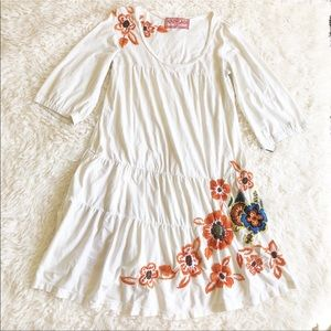 Johnny Was Floral Embroidered Tunic Dress